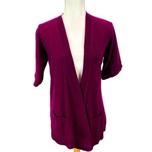 Ann Taylor LOFT Cashmere Cardigan Sweater Red Wine